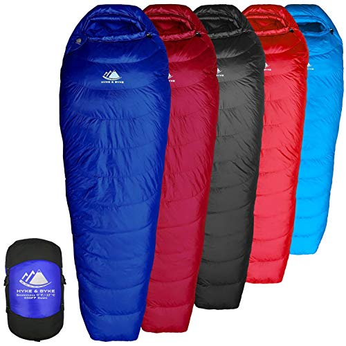 Hyke Byke Snowmass 15 Degree C Down Sleeping Bag for Backpacking Ultralight Mummy Down Bag with Lightweight Compression Sack and Five 5 Color Options Blue Short