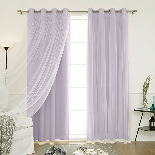 """Best Home Fashion uMIXm Mix and Match Tulle Sheer Lace and Blackout 4 Piece Curtain Set – Stainless Steel Nickel Grommet Top – Lilac – 52"""" W x 96"""" L – (Set of 4 Panels)"""