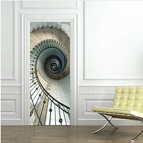 zhangshifa 3D Door Murals Art Geometric Stairs Sticker Removable Self-Adhesive PVC Decal Kids Bedroom Mural Decals Waterproof Door Stickers