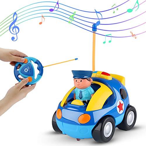 Sirecal Coches Teledirigidos para Niños Pequeños con Música y Luz Juguetes de Racer Coche de Policía Carreras Control Remoto Regalo de Cumpleaños para Niños Niñas Bebés