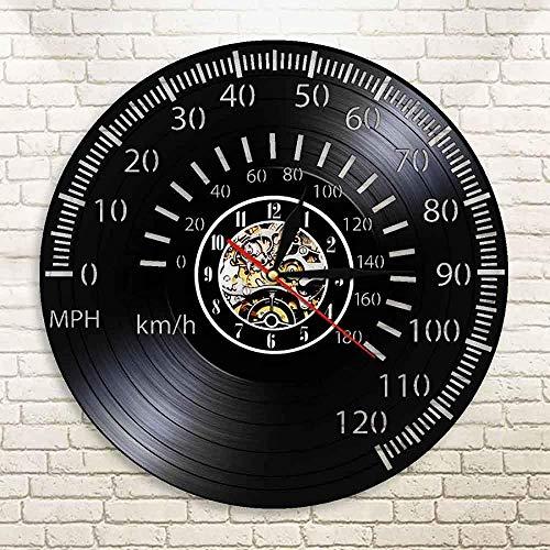 CCGGG Velocímetro Reloj de Pared Vintage Cafe Racing Tacómetro Arte de Pared Motocicleta Racing Bicicleta Vinilo Luz