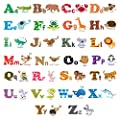 Decowall,Alphabet & Animals peel & stick Nursery wall decals stickers