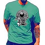 Ying T-Shirt Homme Été Créative Mode Astronaute Skateboard Impression Homme Shirt Moderne Basique Coupe Régulière Col Rond Décontractées Chemises Quotidien All-Match Manches Courtes