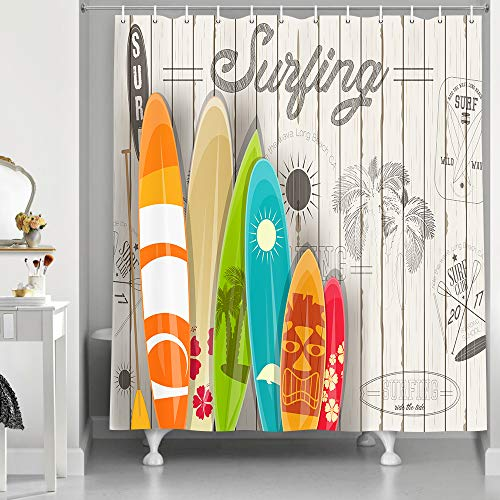 NYMB Summer Surf Shower Curtain, Tropical Colorful Surfboard on Wooden Board, Polyester Fabric Shower Curtain Set for Bathroom, 12PCS Hooks, 69''W X 70''H (69''W X 70''L)
