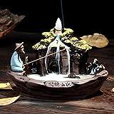 Verus - Quemador de incienso, diseño de flor de loto, de estilo zen, de reflujo, de cerámica, perfecto para el hogar, con 10 conos de incienso de reflujo