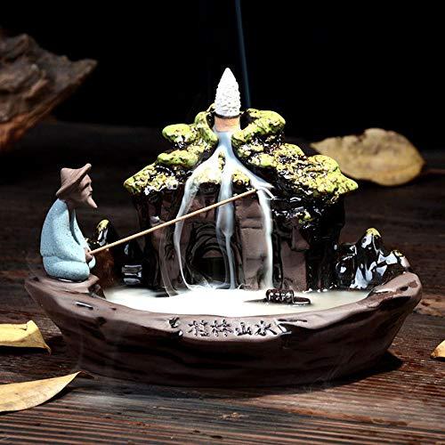 YYW Guilin Landschaft Räucherstäbchen Halter mit 10PCs Rückfluss Räucherkegel, Asien Keramik Räucherstäbchenhalter Rückfluss Räuchergefäß
