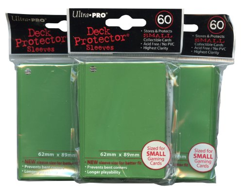 Ultra Pro Card Supplies YuGiOh Sized Deck Protector Sleeves Green 60 Count X3