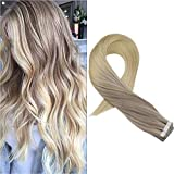Moresoo 18' Tape in Remy Hair Extensions Blonde Skin Weft Human Hair Color #18 Fading to #22 and #60 Blonde Seamless Skin Weft Hair Extensions 20PC/50G