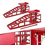 2x Arebos Voitures Véhicule Rampe de Levage | Hydraulique | Réglable de 280-375 mm | 2 T | Rouge