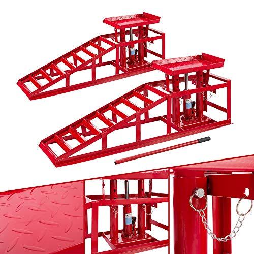 XXL PKW Auffahrrampe Hebebühne KFZ Rampe 245 mm Auffahrbreite Auffahrbock Hebeplattform Höhenverstellbar 2 T (2er Set)