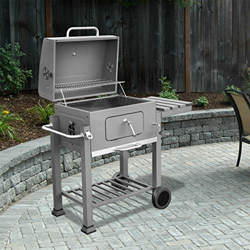 XtremepowerUS 95539 Deluxe Grill Large Station Outdoor Backyard BBQ Stove Built-in Thermometer Charcoal, Silver