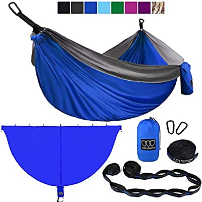 Gold Armour Camping Hammock and Bug Net Set - Double Parachute Hammock (2 Tree Straps 32 Loops/20 ft Included) USA Brand Lightweight Men Women Kids, Camping Accessories Gear