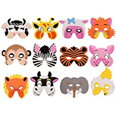 ❤ THICK AND DURABLE - Animal masks for kids come with flexible elastic bands is thick and durable ,hold without tearing . ❤ SAFE AND COMFORTABLE- These animal masks for kids made of high quality environment friendly foam materials. Safe, soft and com...
