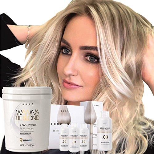 Hair Bleaching Set by Brae, Professional Powder Lightener Wanna Be Blond 17.6 oz with Bond...