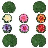 Cabilock 10 Piezas Flotador Flor de Loto Artificial Almohadillas de Lirio de Agua Flor de Loto Estanque Piscina Fuente Decoración para El Hogar Patio Aire Libre Acuario Decoraciones de