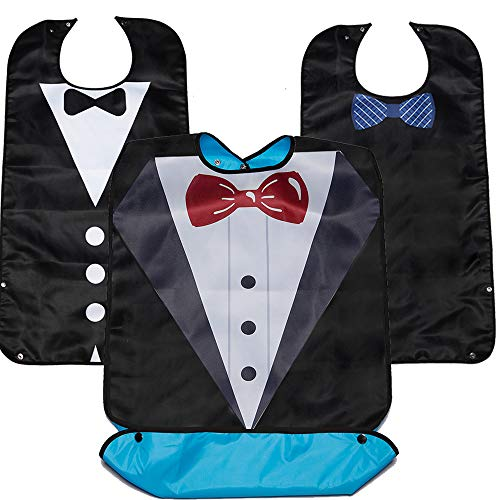 Reusable Adult Bibs for Men Eating 3 Packs Clothing Protectors with Pocket 33