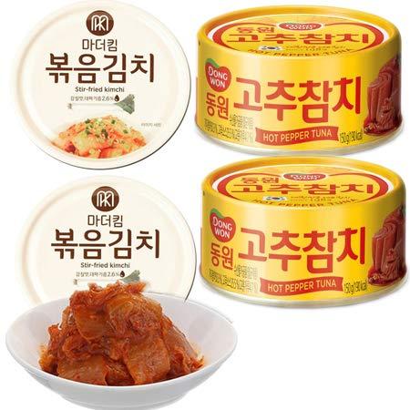 炒めキムチ(160g×2缶) + DONGWON 唐辛子 ツナ缶詰め (150g×2缶)サラダ や 炒め物 にオススメ