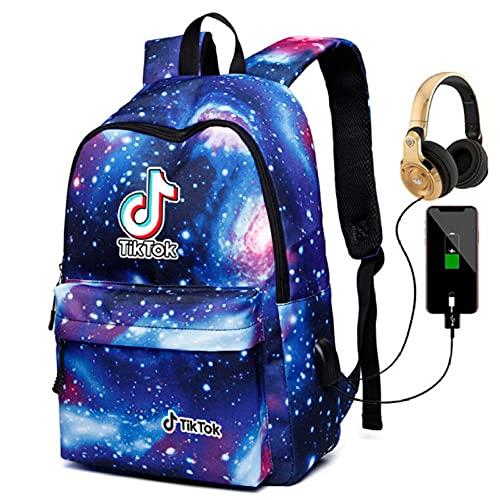 Tiktok Shake Record Hermosa Vida Bolsa de Hombro Galaxy Mochila Hombres Y Mujeres Bolso Estudiante USB Carga + Auriculares-Color2