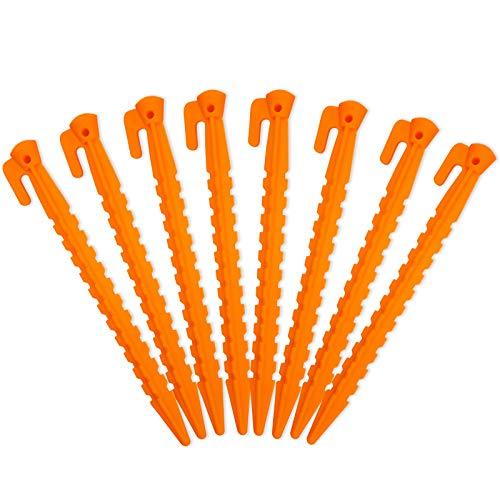 Juego de 8 estacas de plástico para tiendas de campaña, para exteriores, para actividades al aire libre, plástico duradero, naranja...