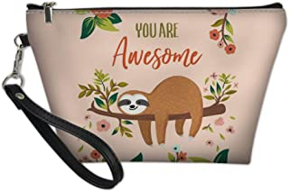Upetstory Love Sloth Makeup Pouch Toiletry Storage Cosmetic Bag Organizer Clutch for Women & Girls School Travel Office Pink