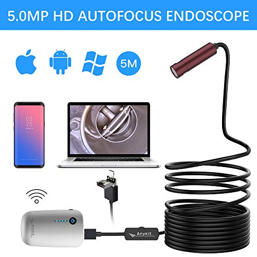 Auto Focus Inspection Camera, Anykit 5.0 MP HD Wireless Endoscope Camera, Semi-Rigid WiFi Borescope with Adjustable LED Lights, Compatible with iOS & Android, MacBook and Windows PC(16.4 ft/5M)