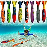 """Haktoys Underwater Diving Torpedo Bandits, Swimming Pool Toy   5"""" Sharks Gliding Up to 20 Feet   Fun Water Games Training Gift Set for Boys and Girls (Set of 8 Pieces)"""