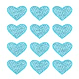 40 Pcs Cute Fabric Mini Heart Patches, Iron-On Love Heart Embroidered Patch, Sew On Patch DIY Clothing Craft Decoration Accessories, Repair Decorations (Sky Blue)