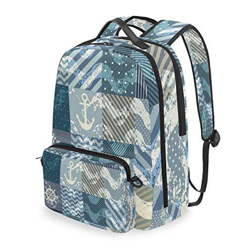 HATESAH Nautical Anchor Grunge Naval Print Detachable Backpack School Computer Bag Travel Rucksack Walking Portable Satchel Camping Knapsack For Boy Girl