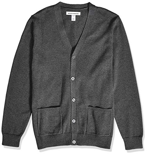 Amazon Essentials Men's Cotton Cardigan Sweater, Charcoal Heather, Medium