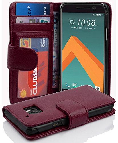 Cadorabo Hülle für HTC 10 (One M10) - Hülle in Bordeaux LILA – Handyhülle mit 3 Kartenfächern - Hülle Cover Schutzhülle Etui Tasche Book Klapp Style