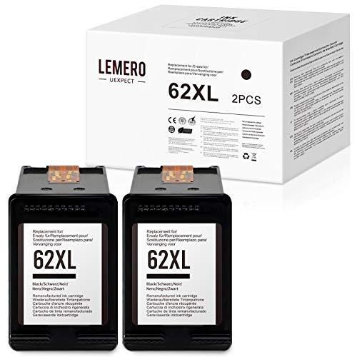 LEMERO UEXPECT Cartuchos de tinta compatibles HP 62 HP 62XL para impresoras HP OfficeJet 5640 5646 5740 5742 5744 5745 5746 eAIO Envy 7640 7645 5642 5644 eAIO (negro)
