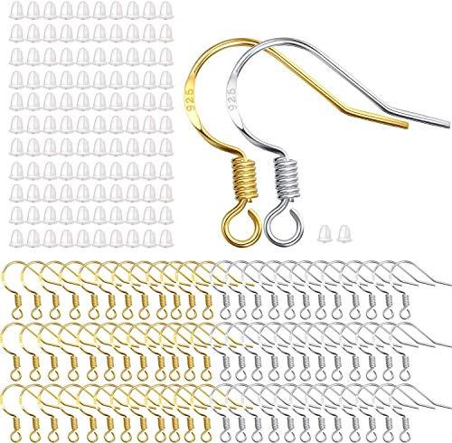 Hicarer 300 Stück Angel Haken Ohrringe Französische Draht Haken in Gold und Silber mit 300 Stück Ohrhaken für Schmuckherstellung DIY
