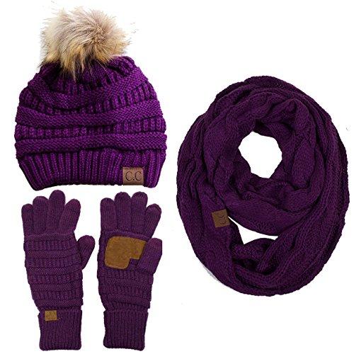 ScarvesMe 3pc Set Trendy Warm Chunky Soft Stretch Cable Knit Pom Pom Beanie, Scarves and Gloves Set Purple