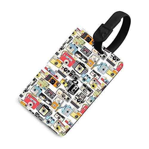 Etiqueta de equipaje duradera para niños, etiquetas identificadoras de bolsa con cubierta de privacidad, accesorios de etiqueta de viaje para maleta, avión, mochilas, cámara vintage