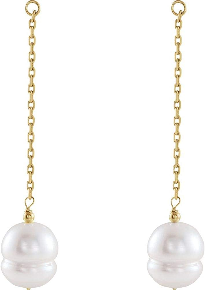 9-11mm White Freshwater Cultured Pearl Earring Jackets (54mm x 11mm)
