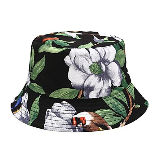 PKYGXZ Sombrero de Pescador con Estampado de Moda para Mujer, Uso de Doble Cara, Sombreros de Cubo, Viajes al Aire Libre, Sombrero de Playa, Visera Plegable, Sombrero Plano de Hip Hop