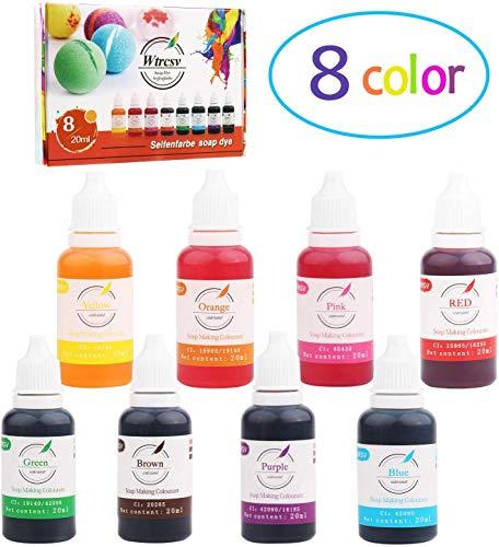 Wtrcsv Seifenfarbe Set 8er x 20ml - Flüssig Seifenfarben Bio, Hautverträgliche Farbe Pigment für die Seifenherstellung Glycerinseife Rohseife, 8 Farben (Rot/Pink/Orange/Gelb/Grün/Blau/Lila/Braun)