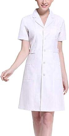 ACSUSS Womens Slanting Button Front Hospital Nurse Scrub Lab Coat Uniform Dress