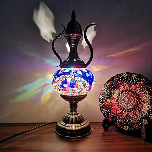 LANMOU Lámpara de Mesa Turca, Hecho a Mano Lámpara Turco Mosaico Vidrio Multicolor Lámpara de Escritorio Vintage Marroquí Lámpara de Noche para Dormitorio con Interruptor y Bombilla LED,D