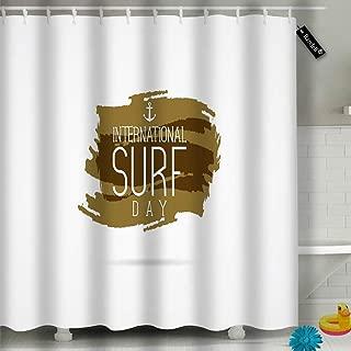 txregxy Shower Curtain Bath Curtain International Surfing Day Elements Surfing Day Decorative Modern Bathroom Accessories 16297 72