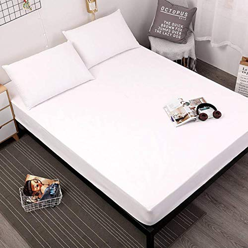 APOO Waterproof Mattress Protector Solid Color Mattress Cover Fitted Sheet Style Separated Water Bed Pad Linens With Elastic,White,140X200X30Cm