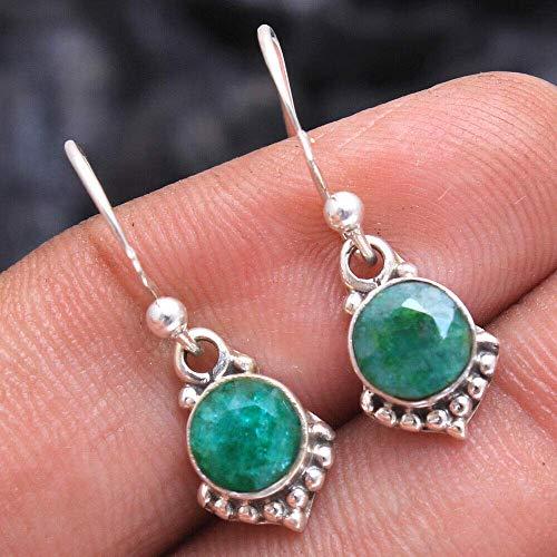 Smaragd Edelstein Sterling Silber Kleine Ohrhänger für Frauen und Mädchen, Lünette Set Ohrhaken Ohrringe, Grüne Brautjungfer Ohrringe