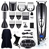 DIKANEO Beard Trimmer Hair Clipper Kit for Men, 10 in 1 Electric Trimmers Grooming for Nose Ear Facial Body Waterproof USB Rechargeable Mustache Cordless Precision Groomers