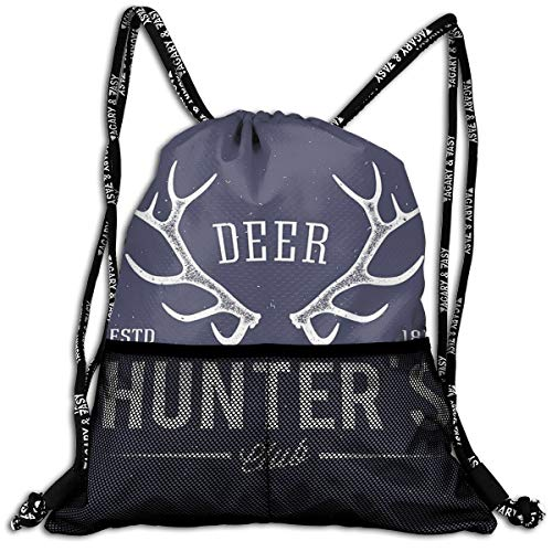 AZXGGV Drawstring Backpack Rucksack Shoulder Bags Gym Bag Sport Bag,Deer Hunters Club Logo Design with Antlers Retro Typography Shabby Style Icon
