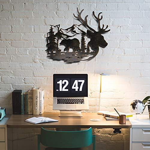 Juegoal Metal Wall Art- Deer & Bear in The Forest Pine Tree Wall Decor Hanging for Living Room, Bedroom, Bathroom Indoor Outdoor, 14 x 12 Inches