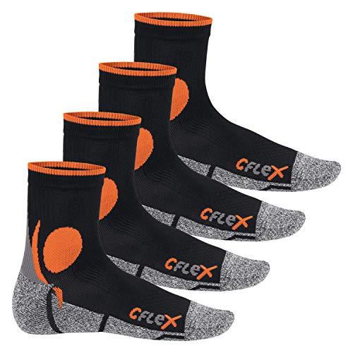 CFLEX - 4 pares de calcetines para correr negro/naranja - 35-38