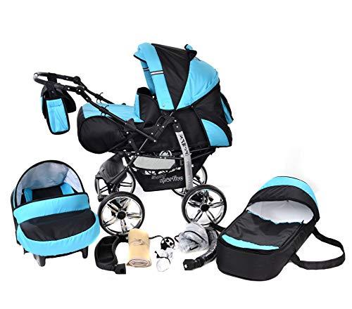 Kamil, Kombikinderwagen set - incl. Kinderwagen 3 in 1 mit Zubehör, Babyschale und Sportwagen Aufsatz. System mit RÄDER NICHT SCHWENKBAR