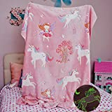 Glow in The Dark Unicorn Blanket for Girls – Soft Pink Fleece Throw. Great Birthday, Baby, Toddler Unicorn Gifts! All Seasons Premium Fuzzy Blanket with Fairy, Butterfly, Stars. Bright Long-Last Glow