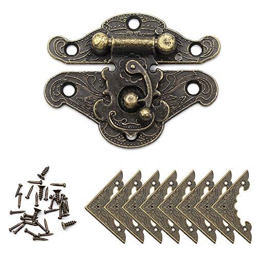 YGSAT 1 Set Antike Verschlüsse Scharniere Antik Beschläge Antik Verschluss Retro-Schloss Schmuckschatulle Schloss mit Schrauben und 8 Stück Antik Möbel-Ecken