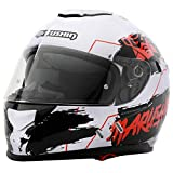 Marushin 889 Comfort Warrior - Casco integral para moto, talla XL, color blanco y rojo